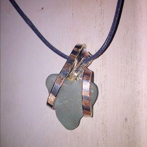 Genuine Seaglass Pendant (CAGED LOVE)
